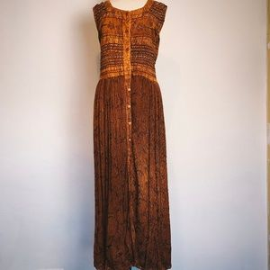 Vintage 90s Rust Embroidered Boho Festival Dress